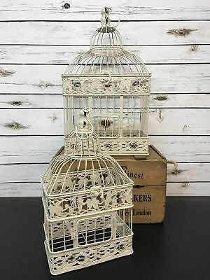 S/2 Vintage Birdcage Large Wedding Table Centerpiece Ivory Metal Bird Cages Gift
