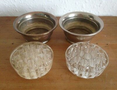Pair of Vintage Falstaff silver plate rose / posie bowls with glass insets