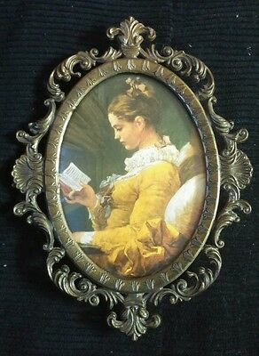 Vintage print of Young Beautiful Girl in an Ornate Glass Brass Frame