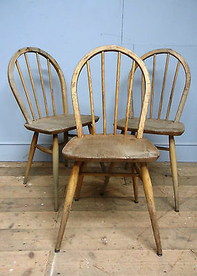 3 Vintage Ercol Windsor dining chairs for restoration