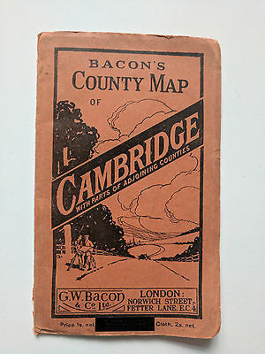 Bacon's County Map of CAMBRIDGE paper with parts adjoining counties