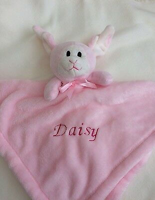 Personalised Baby Comforter Blanket New Baby Gift Christening Gift Pink