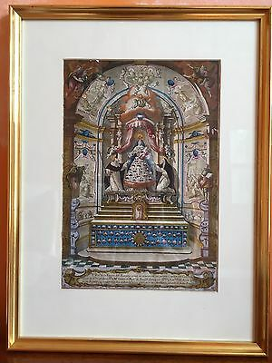 Antique hand coloured religious engraving of Madonna and Child