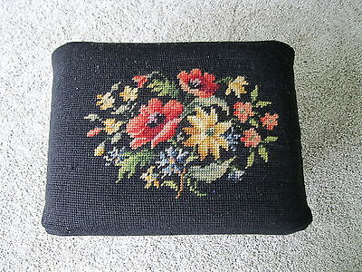 "Vintage Foot Stool Floral Needlepoint Fabric Footstool Bench 12"" x 9"" Four Legs"