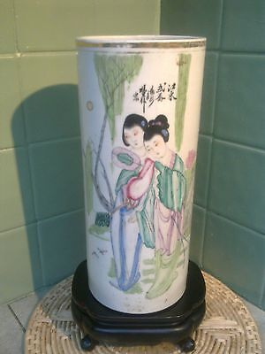 Chinese Antique Famille Rose Hand Painted Porcelain Hat Or Stick Stand Vase