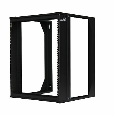 "12U Wall Mount IT Open Frame 19"" Network Rack with Swing Out Hinged Gate Black"