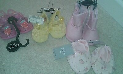 4 x baby girls shoes size 0-3 months and 3-6 months bnwt