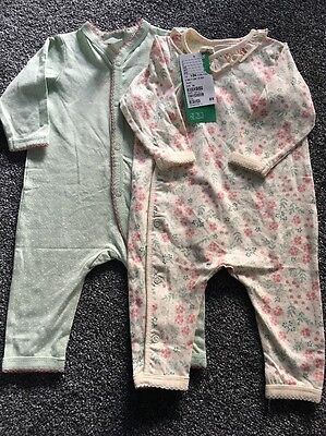 BNWT 2 Baby Girl Pretty Ditsy FloralCotton H&M Romper / Playsuit. 1-2 Months