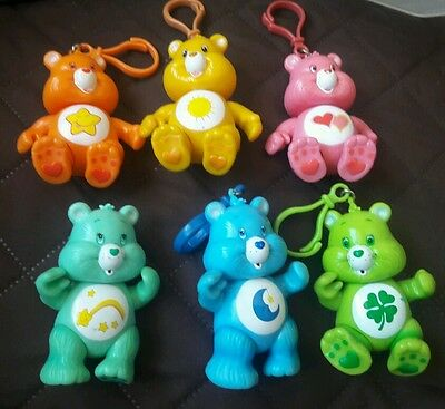 CARE BEARS clip on KEY CHAINS OR HOOKS SET OF 6