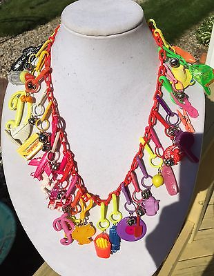 Vintage New 80's Plastic Bell Charm Necklace Retro Clip On 1980 Party 27 Charms