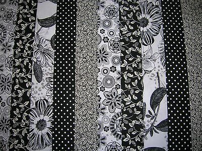 """10 Jelly Roll Strips Black & White 44"""" X 2.5""""  100% Cotton Patchwork/quilt Blk"""