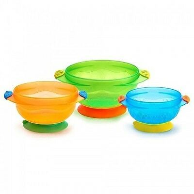 Quality Munchkin Three Stay Put Suction Bowl 3-Pack New Free Ship *