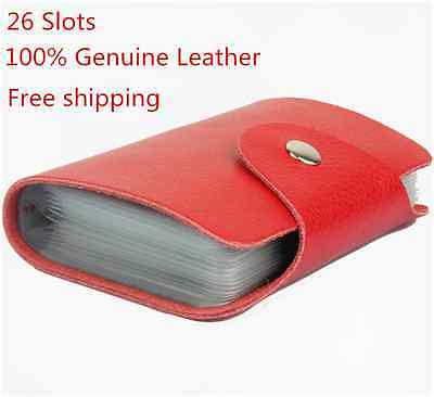 Brown Red 26 card Holder 100% Genuine Leather  Business Credit Card Case Wallet