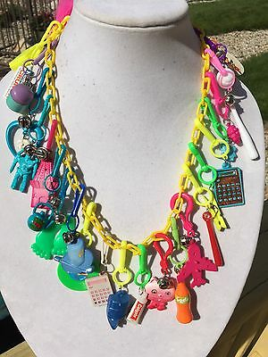 Vintage New 80's Plastic Bell Charm Necklace Retro Clip On 1980 Party 26 Charms