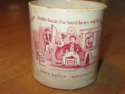 Antique Staffordshere Child's Mug from a series Dr Franklin Poor Richard 1840