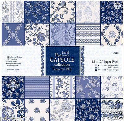 "Papermania 12x12"" scrapbook paper Parisienne blue 32 sheet in 16 designs 160gsm"