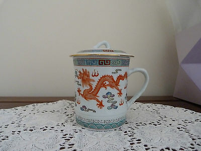 Vintage Marked Chinese Porcelain Dragon Tea Cup/Mug with Lid