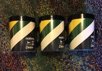 Vintage  1970s Thermo-Serv Insulated Coffee Mugs Cups JOHN DEERE set of 3