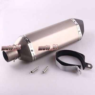 New 300mm Universal Carbon Exhaust pipe end tip Stainless Steel barrel Titanium