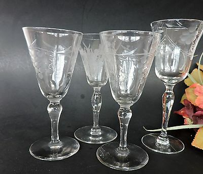 Vintage crystal optic etched cordial  Stemware lot of 4