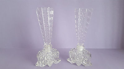 Pair of Vintage Art Deco Intaglio Glass Perfume Bottles