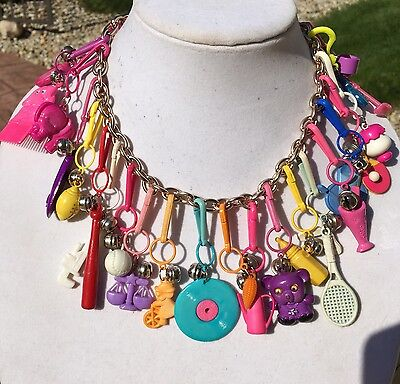 Vintage New 80's Plastic Bell Charm Necklace Retro Clip On Metal 1980 Party 24