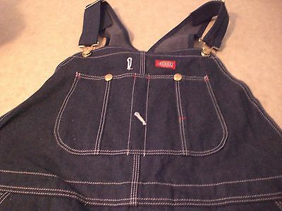 Dickies men's denim  bib overalls button fly , 42x34--NWT