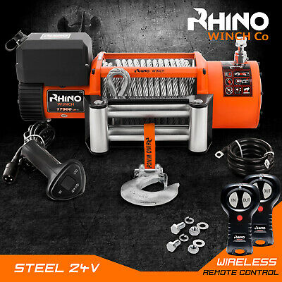 Truck Recovery Electric Winch, 24v 17500lb, 4x4 Steel Cable, Heavy Duty - RHINO