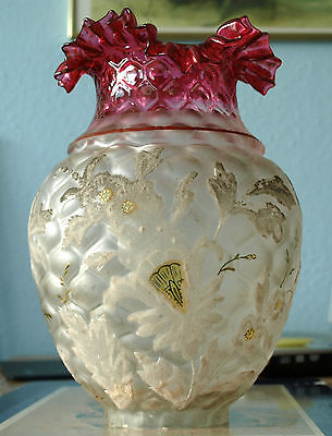 Antique Victorian cranberry oil lamp shade acid toned gilded stunning beautyful