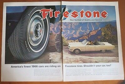 FIRESTONE TIRES 1966 Print  Ad 1960's Vintage Advertising 2 Page Advert