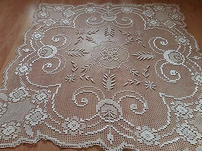 "Antique Vintage Handmade Ivory FILET NET LACE Tablecloth Square 37""x37"" Large"