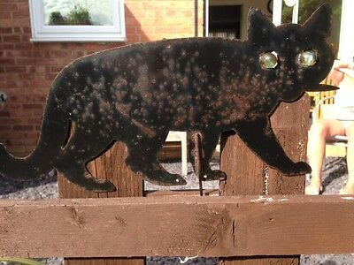 Antique Folk Art Metal Cat With Marble Glass Eyes