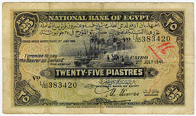 EGYPT 1941 ISSUE 25 PIASTRES SCARCE NOTE.PICK#10c.