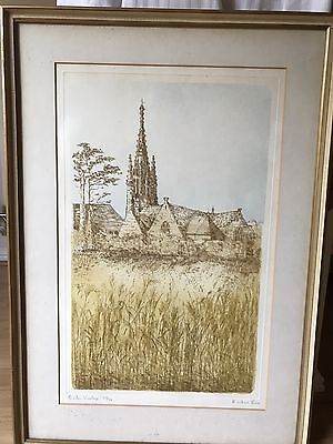 Richard Beer Signed, Numbered Engraving & Aquatint, Breton Village