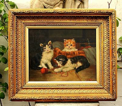 Delightful Early C20th English School Oil on Panel - Kittens Playing