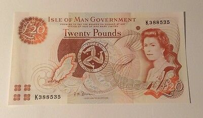 Isle of Man £20 Banknote, Uncirculated and Crisp.Twenty Pound Note/Unc
