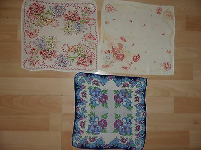 BUNDLE of 3 VINTAGE LADIES FLORAL HANDKERCHIEFS