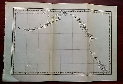 Late 1800's Map of Aleutian Islands Westcoast US Puget Sound Naval Station