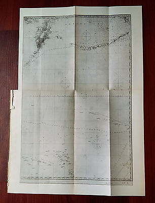 Late 1800's Glossy Map of Aleutian and Caroline and Marshall Islands