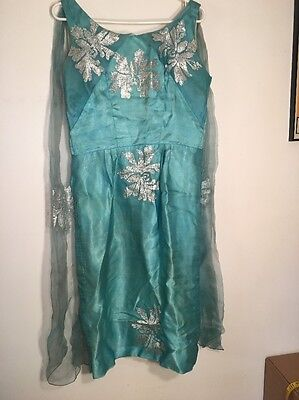 1950's Teal And Silver Vintage Dress Bust 44 Rockabilly 50's Fancy
