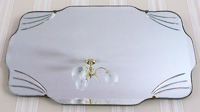 VINTAGE c1930s ART DECO FRAMELESS ETCHED BEVELLED EDGE WALL HALL MIRROR CHAIN