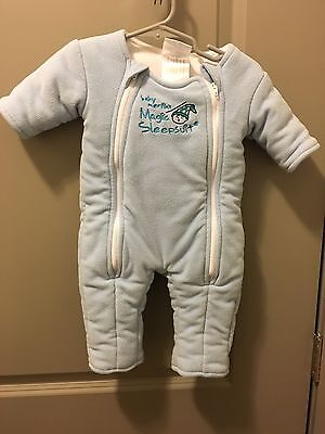 Baby Merlin's Magic Sleepsuit Cotton- Blue - 3-6 months (Small)