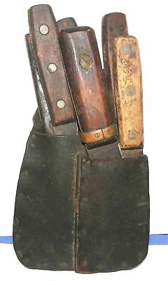 Antique 6pc group of boning knives with homemade leather carrier-old hunter lot