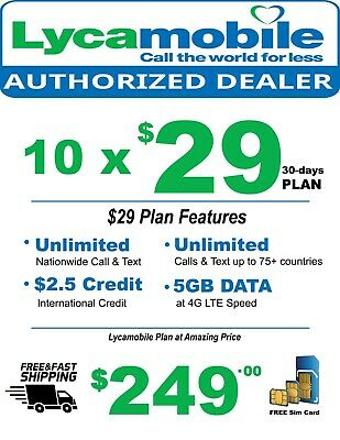 10 x Lycamobile Triple-Cut Sim Card With $29 Plan 1st Free Month Service Include