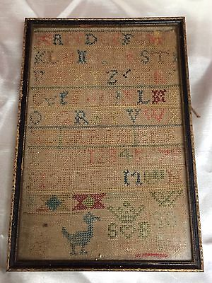 Antique Dated 1704 Needle Work Childs Sampler,27X18Cm,antique Item,aged 8