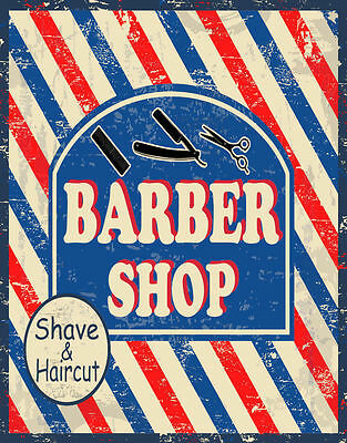 Barber Shop Shave&Haircut  Large Metal Tin Sign Poster Wall Plaque
