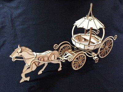 Laser Cut Wooden Fantasy Horse and Carriage 3D Model / Puzzle Kit