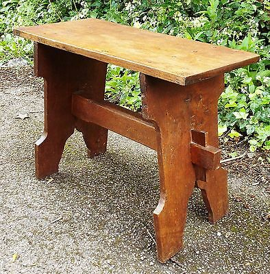 Antique Arts & Crafts Solid Oak Stool or Side Table Dowel & Pegged