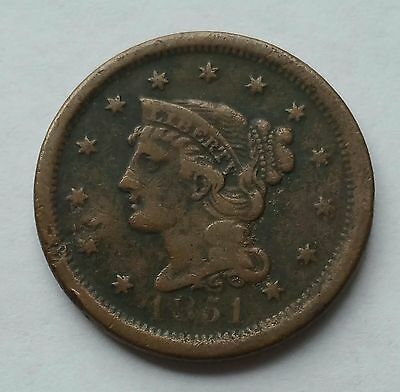 1851 Braided Hair Large Cent 1C Early Date Coin