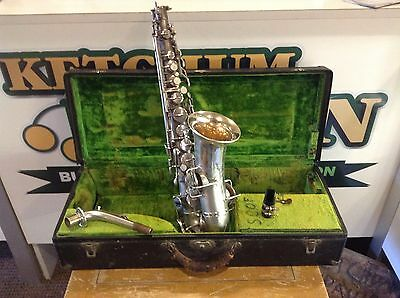 1924 Buescher True Tone Low Pitch Saxophone Silverplate serial# 170688